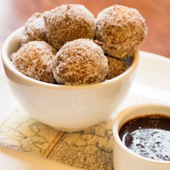 donuts in a white dish