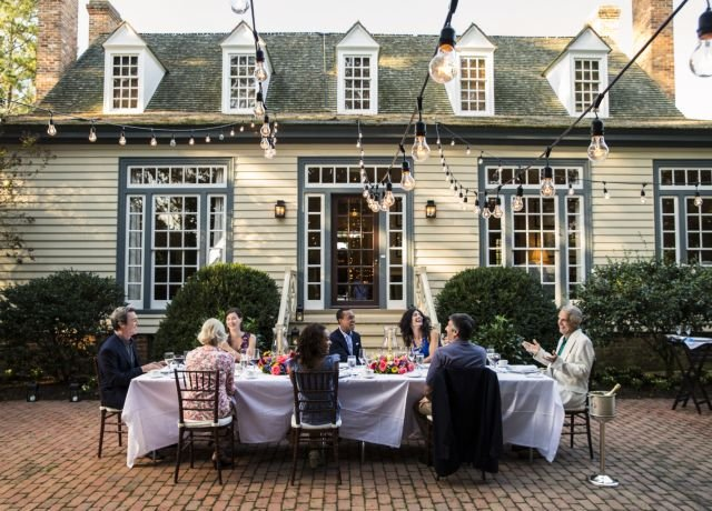 Group of people dining at Providence Hall Outdoor Dining