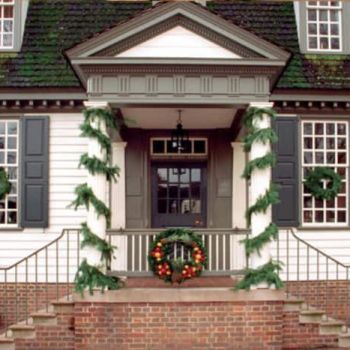 Fall decorations around the entrance to King's Arms Tavern in Colonial Williamsburg.