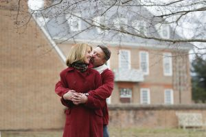 Couple embracing in Colonial Williamsburg