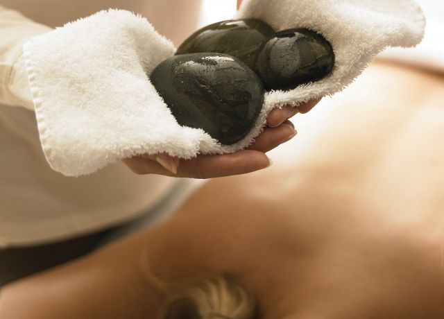 Rock massage at a spa