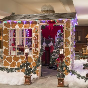 Gingerbread house decoration in lobby