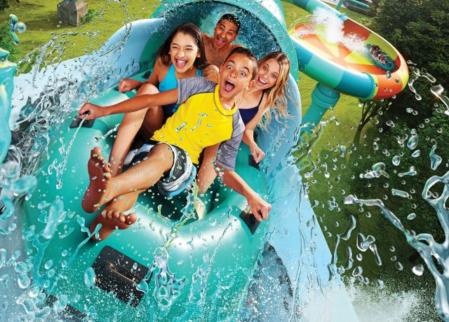 Excited family enjoying waterpark
