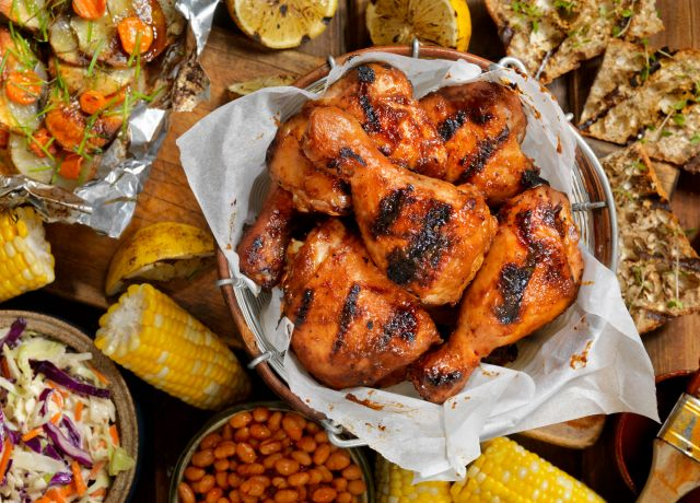Beautiful barbecue chicken dinner