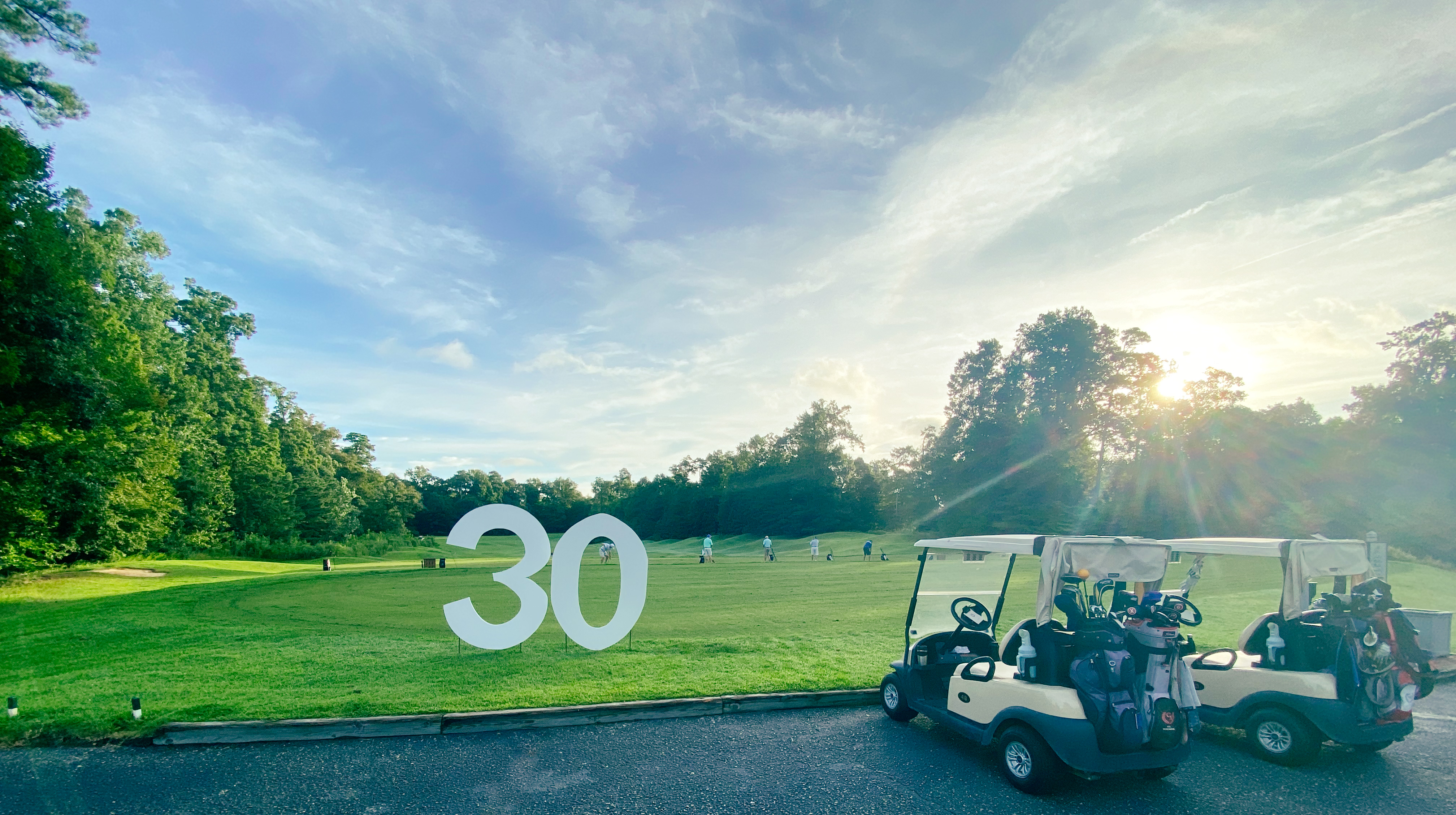 sunrise at the golf driving range