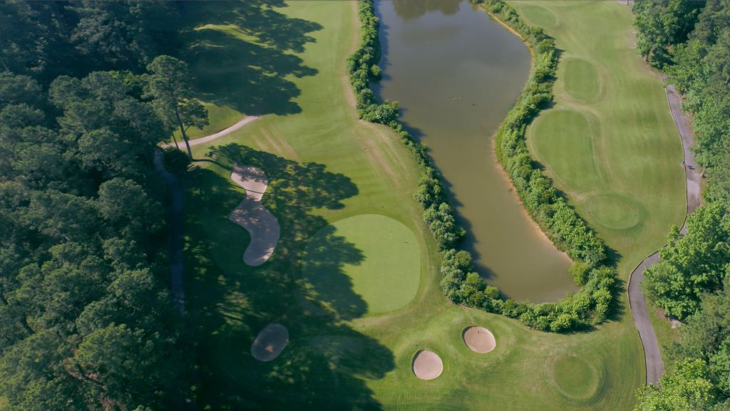 Ariel view of green golf course